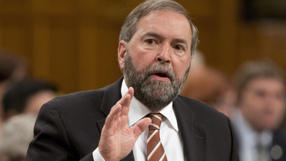 NDP Leader Tom Mulcair rises during question period in the House of Commons, in Ottawa, Tuesday, May 27, 2014. (Adrian Wyld / THE CANADIAN PRESS)