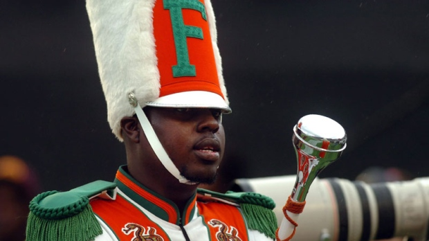 Robert Champion is seen performing during a football game in Orlando, Fla., on Nov. 19, 2011