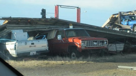 MyNews contributor Arnold McAulay shared this photo of a destroyed  building, 'Kaz's Service,' the day after a wind storm ravaged the area on Monday, Nov. 28, 2011.
