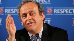 This file photo shows Michel Platini in Nice, France on Feb. 22, 2014. (AP / Lionel Cironneau)