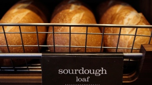 Loaves of sourdough bread displayed on a rack at a Panera store in Brookline, Mass. on March 8, 2010. (AP / Charles Krupa)