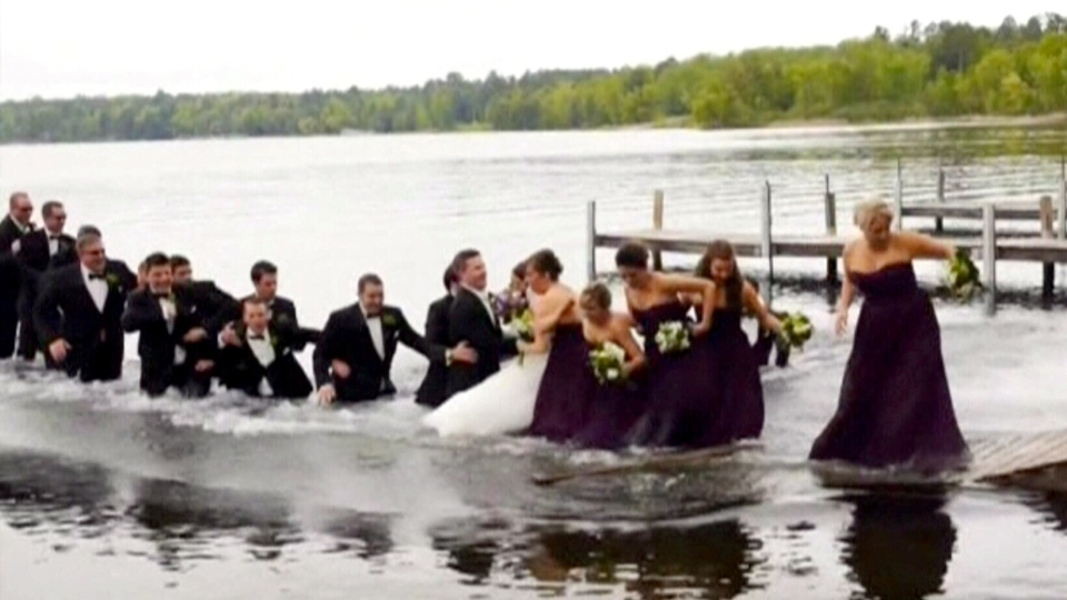 A wedding party took a plunge in a Minnesota lake when a dock gave way under their weight.