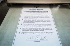 Tim Hudak signs accountability oath