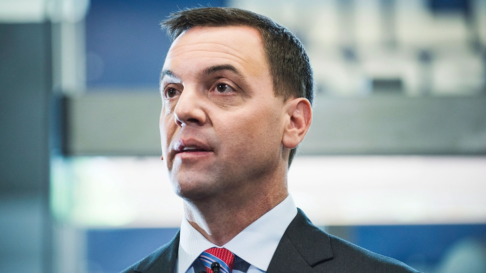 Ontario Conservative Party Leader Tim Hudak speaks to media at a campaign event at MI5 Print and Digital Communications Inc. in Markham,  Ont. on Tuesday June 3, 2014. (Aaron Vincent Elkaim / THE CANADIAN PRESS)