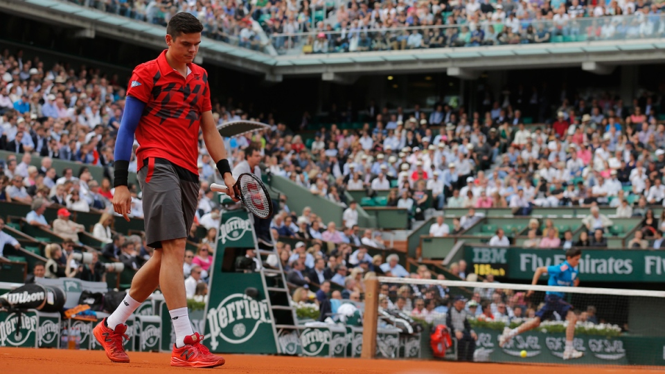 Canada's Milos Raonic during the quarterfinal match of the French Open tennis tournament against Serbia's Novak Djokovic at the Roland Garros stadium, in Paris, France, Tuesday, June 3, 2014. (AP / Michel Spingler)