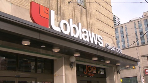 The Loblaws sign on the southeast corner of Maple Leaf Gardens.