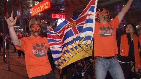 BC Lions fans celebrate in the streets following the teams victory at the 99th Grey Cup Sunday night. Nov. 27, 2011. (CTV)