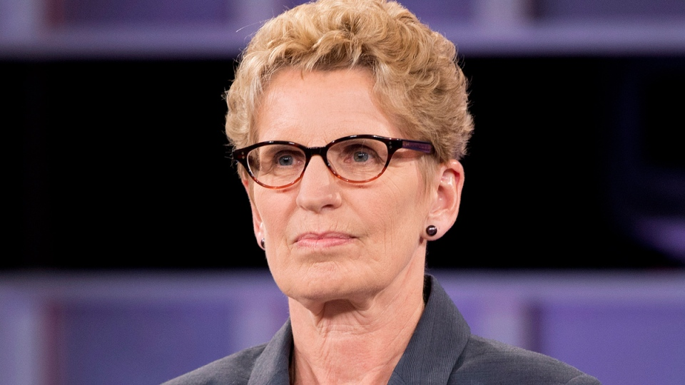 Ontario Liberal leader Kathleen Wynne takes part in the live leaders debate at CBC during the Ontario election in Toronto on Tuesday, June 3, 2014. (Frank Gunn / THE CANADIAN PRESS)