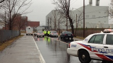 Police are investigating the city's 42nd homicide after a woman was found in the Portlands area early Tuesday, Nov. 29, 2011. (CTV NEWS / Katie Simpson)
