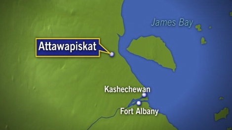 CTV map shows the location of the Attawapiskat reserve in Northern Ontario.