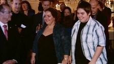 Isabelle Marchand and Maxime Collard were recognized for their work to fight bullying in Sorel-Tracy (Nov. 28, 2011)