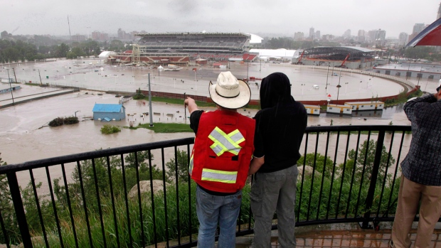 Flooded Calgary Stampede grounds