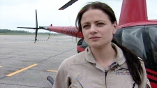 Tiffany Hanna, a flight instructor with Great Lakes Helicopters, is seen during an interview with CTV News in May 2011.