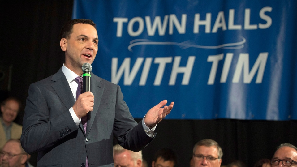 Ontario PC Leader Tim Hudak speaks during a campaign stop in Ajax, Ont. on Wednesday, June 4, 2014. (Darren Calabrese / THE CANADIAN PRESS)