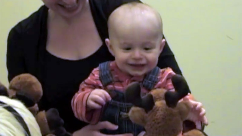 An 8-month-old baby chooses a favorite puppet from a pair previously seen helping and hindering wrongdoers. (Kiley Hamlin, University of British Columbia Center for Infant Cognition)