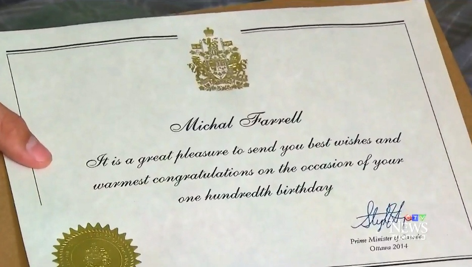 ont boy receives certificate from pm congratulating him on 100th