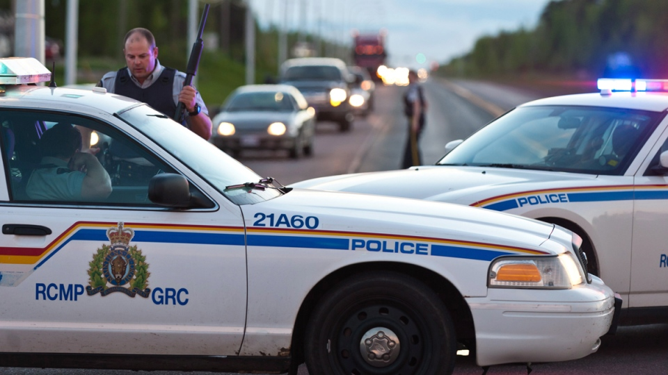 RCMP officers use their vehicle to create a keep a perimeter in Moncton, N.B.on Wednesday June 4, 2014. (THE CANADIAN PRESS / Marc Grandmaison)