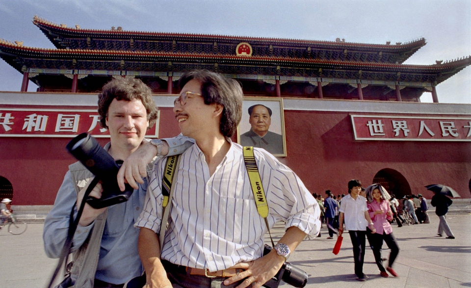 Beijing late May 1989: Associated Press Photographers Jeff Widener (left) and Liu Hueng Shing pose in front of Beijing's Forbidden City just days before the Chinese government military crackdown against pro-democracy protestors at Tiananmen Square. Photo/Courtesy Jeff Widener