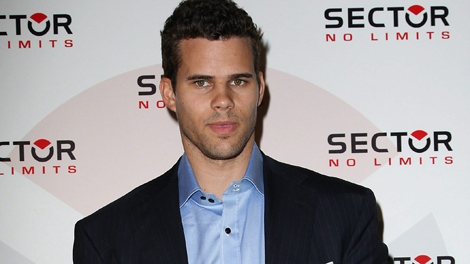 Kris Humphries poses at an event announcing him as the new spokesperson for the Sector watch brand for the U.S., Thursday, Nov. 17, 2011 at Trump Hotel Soho in New York. (Starpix / Kristina Bumphrey)