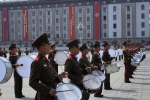 A North Korean military marching band plays at Kim Il Sung Square in Pyongyang to mark the 82nd anniversary of the founding of the Korean People's Army on Friday, April 25, 2014. (AP / Jon Chol Jin)