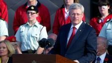 Harper speaks at Juno Beach