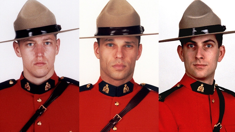From left: Const. Dave Joseph Ross, Const. Fabrice Georges Gevaudan and Const. Douglas James Larche appear in photos released by the RCMP. They were fatally shot by a gunman in Moncton on Wednesday, June 4, 2014.