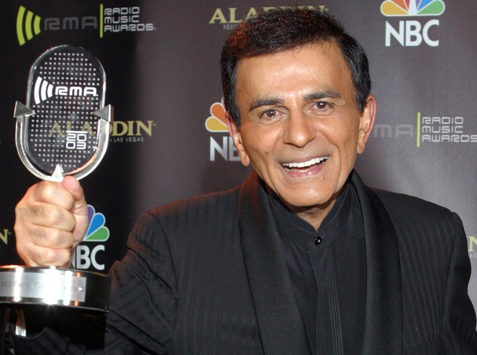In this Oct. 27, 2003, file photo, Casey Kasem poses for photographers after receiving the Radio Icon award during The 2003 Radio Music Awards in Las Vegas, Oct. 27, 2003. (AP Photo/Eric Jamison, File)