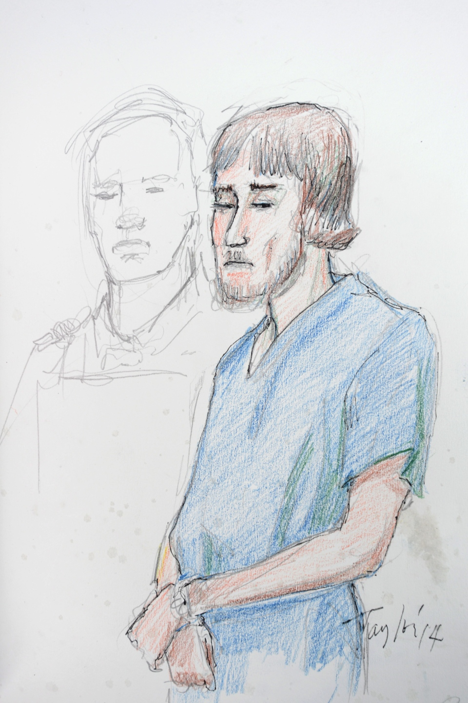 Justin Bourque is shown in this artist's sketch during his court appearance in Moncton, Friday, June 6, 2014. (Carol Taylor / THE CANADIAN PRESS)
