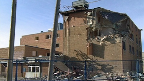 Demolition work began on the Plains Hotel in Regina on Thursday.