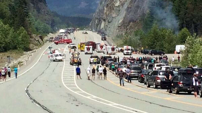 Traffic was shut down in both directions on Highway 99 after a collision near the Garibaldi Salt Shed, Sat., June 7, 2014. (Twitter/@ptat23)