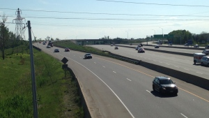 Traffic moves along the ramp from Highway 8 to Highway 401 in Kitchener on Monday, June 9, 2014. (Abigail Bimman / CTV Kitchener)