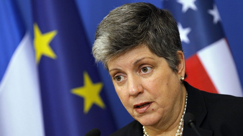 U.S. Secretary of Homeland Security Janet Napolitano delivers a speech during a press conference with French interior minister Claude Gueant and U.S. Attorney General Eric Holder, unseen, in Paris, Friday, Dec. 2, 2011.