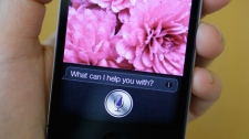 Siri, the new virtual assistant, is displayed on the new Apple iPhone 4S in San Francisco, Monday, Oct. 10, 2011. (AP / Eric Risberg)