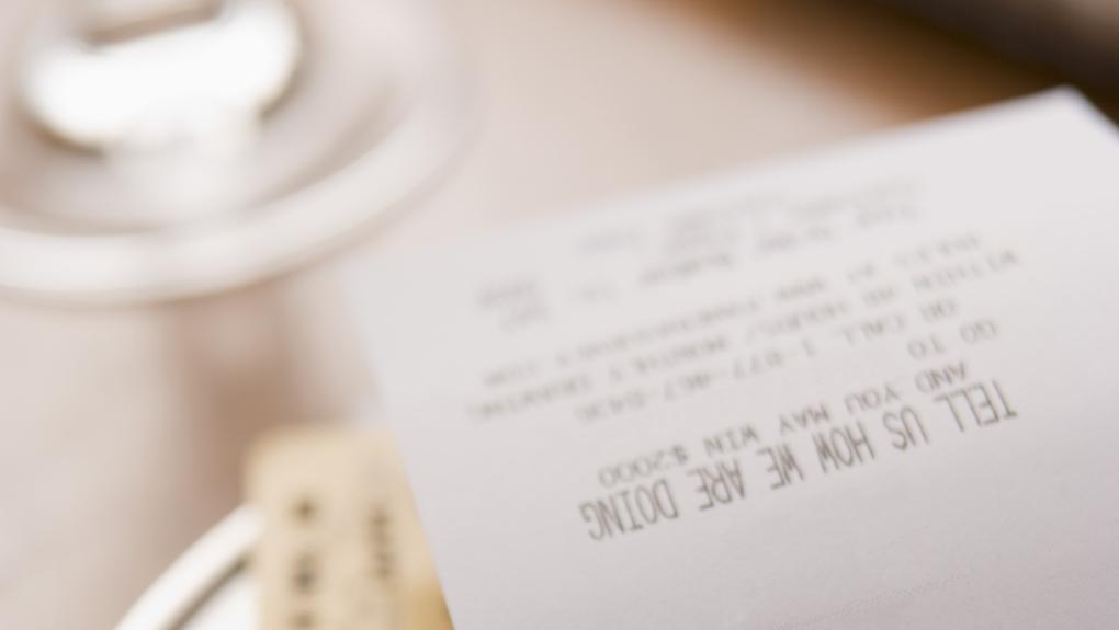 Tipping - bill shown