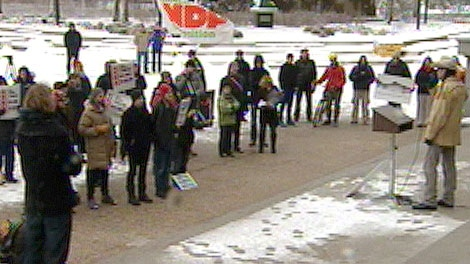 Members of Greenpeace, the Sierra Club, Keepers of the Athabasca and Occupy Edmonton united for a rally at the Legislature Saturday, December 3.