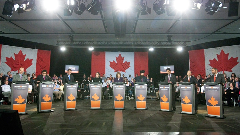 NDP leadership candidates begin the first round of debates in Ottawa Sunday, Dec. 4, 2011. (Fred Chartrand / THE CANADIAN PRESS)
