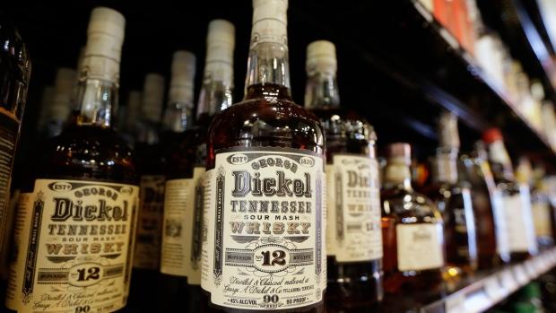 Bottles of George Dickel Tennessee whiskey