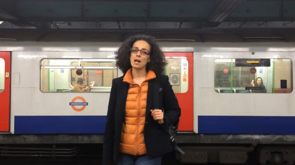 In this YouTube screengrab, London-based journalist Masih Alinejad appears in a tube station in London, England.