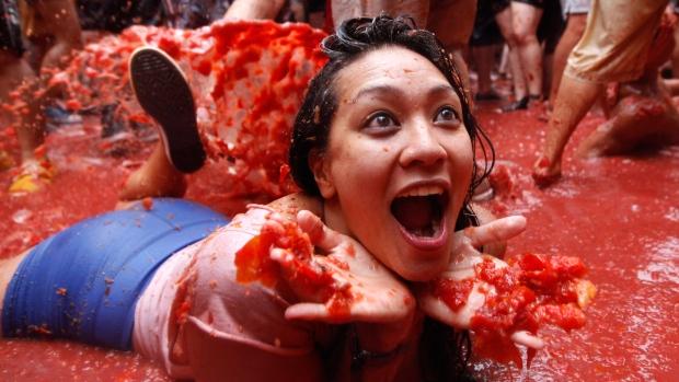 At Spain's 'Tomatina' tomato fight fiesta