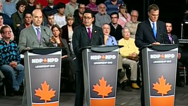 From the left: Nathan Cullen, Romeo Saganash, and Robert Chisholm participate in the NDP leadership debate in Ottawa on Sunday, Dec. 4, 2011.