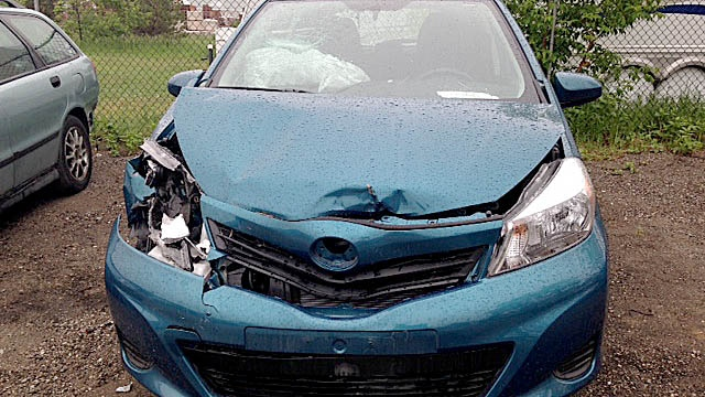 A car that has had a run-in with a deer is seen June 11, 2014. (Rob Cooper / CTV Barrie)