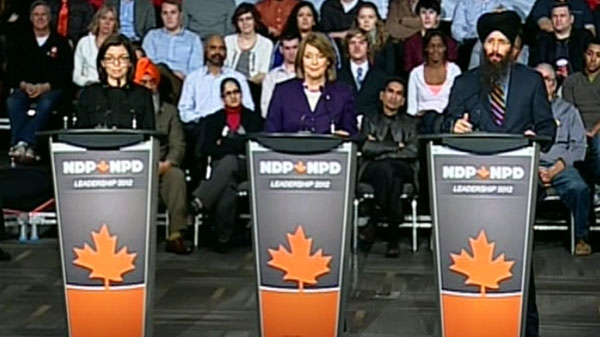 From the left: Niki Ashton, Peggy Nash, and Martin Singh participate in the NDP leadership debate in Ottawa on Sunday, Dec. 4, 2011.