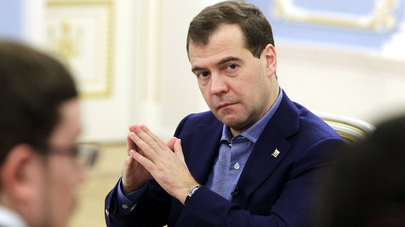 Russian president Dmitry Medvedev meets with supporters at the Gorki residence outside Moscow on Monday, Dec. 5, 2011. (RIA Novosti, Mikhail Klimentyev, Presidential Press Service)