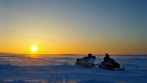 Inuit hunter on Frobisher Bay, Nunavut
