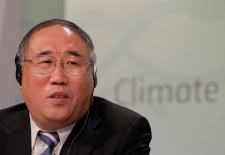 Xie Zhenhua, vice chairman of the National Development and Reform Commission and China's lead climate official, speaks during a news conference in Durban, South Africa, Monday, Dec. 5, 2011.  (AP / Schalk van Zuydam)