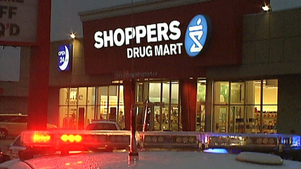 A Shoppers Drug Mart that was robbed of prescription drugs is seen in Cambridge, Ont. on Monday, Dec. 5, 2011.