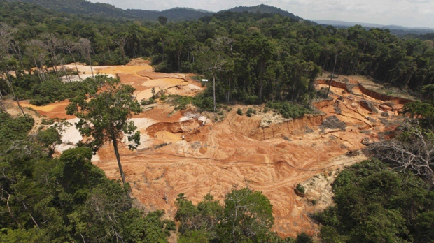 In this Sept. 15, 2009 photo, an illegal gold mine is seen in a national park forest near Novo Progresso in Brazil's northern state of Para. (AP Photo/Andre Penner)