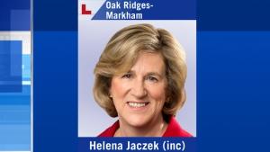 Liberal MPP Helena Jaczek has been re-elected in Oak Ridges-Markham.