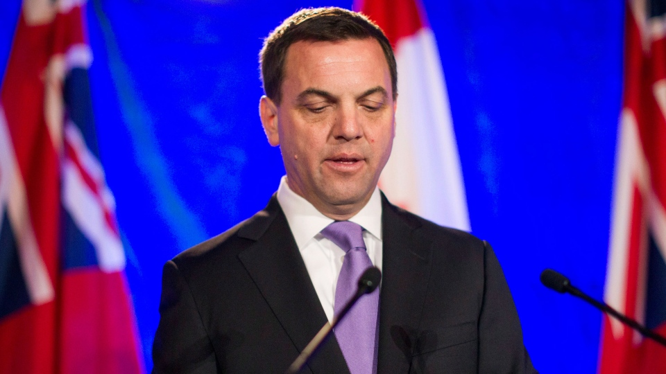 Ontario PC Leader Tim Hudak gives his concession speech at his election night party in Grimsby, Ontario on Thursday, June 12, 2014. (Chris Young / THE CANADIAN PRESS)