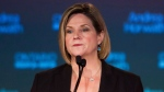 Ontario NDP Leader Andrea Horwath speaks to supporters at the NDP election night party in Stoney Creek, Ont., Thursday, June 12, 2014. (Aaron Lynett / THE CANADIAN PRESS)